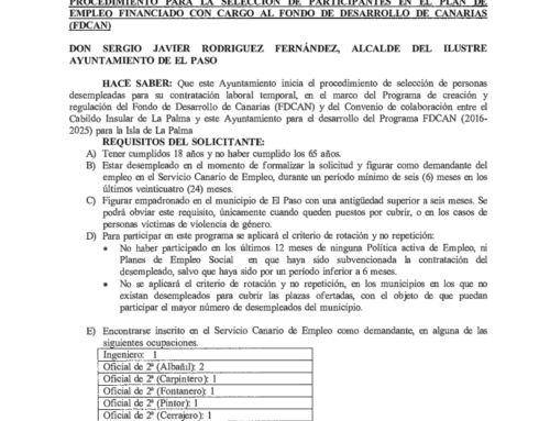 PROCEDIMIENTO PARA LA SELECCIÓN DE PARTICIPANTES EN EL PLAN DE  EMPLEO FINANCIADO CON CARGO AL FONDO DE DESARROLLO DE CANARIAS (FDCAN)