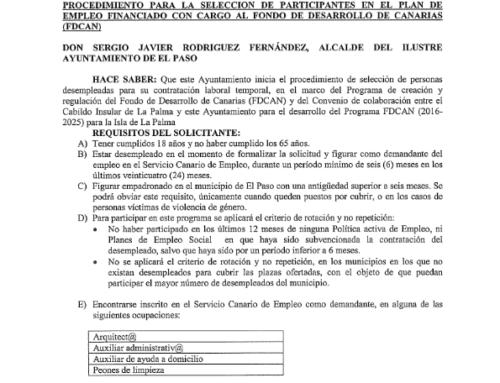 PROCEDIMIENTO PARA LA SELECCION DE PARTICIPANTES EN EL PLAN DE EMPLEO FINANCIADO CON CARGO AL FONDO DE DESARROLLO DE CANARIAS {FDCAN)