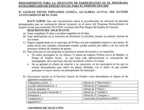 Procedimiento para la selección de participantes en el programa extraordinario de empleo social para 2019-2020
