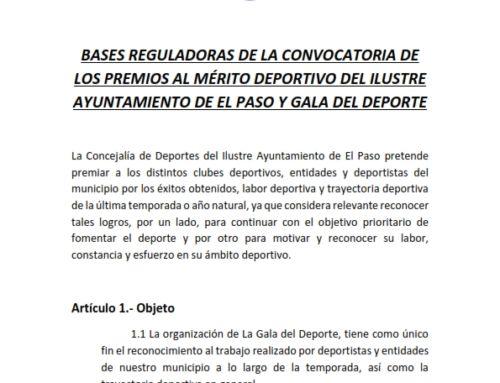 Bases Reguladoras de la Convocatoria de los Premios Al Mérito Deportivo del Ilustre Ayuntamiento de El Paso y Gala del Deporte 2019
